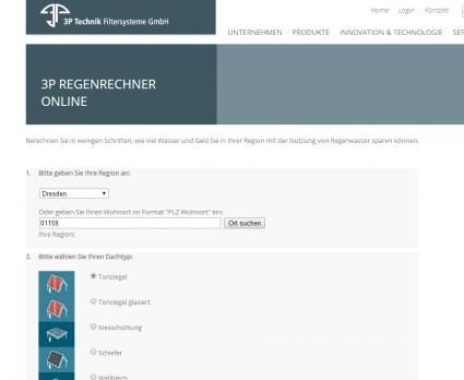 3P Technik Filtersysteme GmbH   3P Regenrechner Online